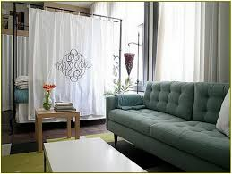 white curtain room dividers for studio apartment with green