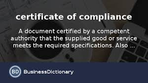 what is certificate of compliance definition and meaning