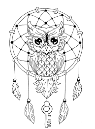 owl dreamcatcher animals coloring pages for adults justcolor