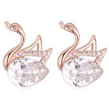 designer stud earrings animal earrings swan design stud earrings from real