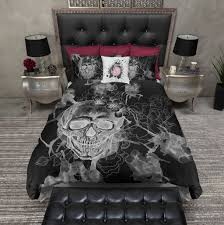 What Is A Bed Set White On Black Watercolor Skull Bedding Pillow Cases Comforter