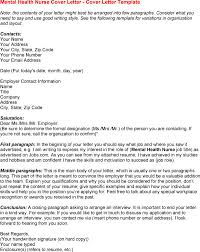 awesome cover letter for rn career cover letter mental health
