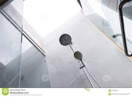 shower head in bathroom design of home interior stock photo