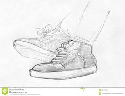 pencil sketch of feet in gym shoes stock illustration image