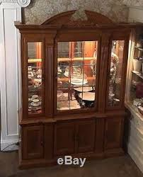 Ornate Display Cabinets Golden Oak China Cabinet Leaded With U0027leaded U0027glass Doors