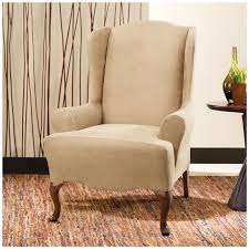 Wing Chair Cover Sure Fit Stretch Leather Wing Chair Slipcover 581253 Furniture