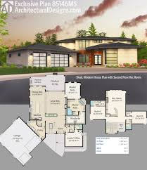House Plans With Media Room Plan 85146ms Sleek Modern House Plan With Second Floor Rec Room