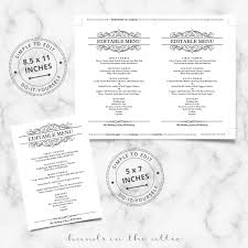 5 course menu template calligraphic wedding brunch menu template wedding menu cards