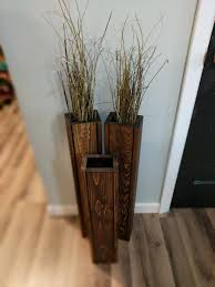 Distressed Wood Home Decor Set Of 3 Rustic Floor Vases Wooden Vases Home Decor