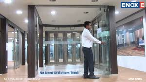 frameless glass bifold doors enox glass center sliding folding system egsldf 202 p youtube
