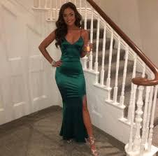 dress emerald green satin maxi slit evening dress strappy