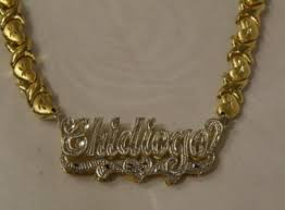Gold Chain With Name 14k Gold Plate Personalized Any Name Double Plate Nameplate