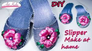 how to make slippers at home old waste jeans denim ribbon
