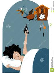 Blue Cuckoo Clock Tired Woman And A Cuckoo Clock Stock Vector Image 53231973