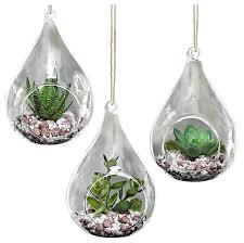 teardrop design hanging glass faux succulent container vases set