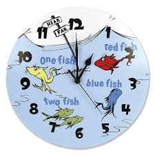 amazon com trend lab dr seuss wall clock one fish two fish baby