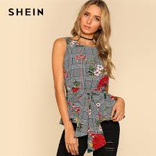 belted blouse shein self belted floral and plaid shell top fashion