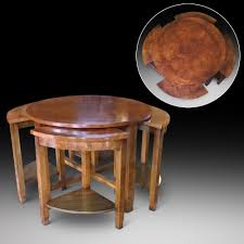 burr walnut art deco nest of 5 coffee tables 1925 to 1938 united