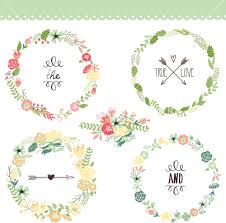 floral frame collection set of retro flowers arranged un a