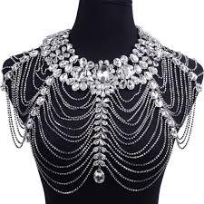 rhinestone collar necklace images Luxury rhinestone necklace chain bridal shoulder necklace chain jpg