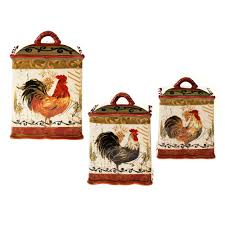 tuscan rooster red hand painted earthenware canister set 3 piece