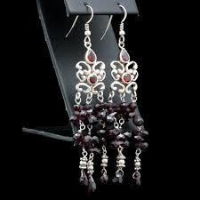 Garnet Chandelier Earrings Sterling Silver And Rhodolite Garnet Chandelier Earrings Ebth