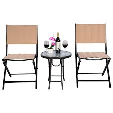 Folding Outdoor Chair 3 Pcs Folding Steel Table Chairs Set Outdoor Furniture Sets