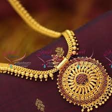 necklace pendant designs gold images Nl5954 ruby pendant flat chain haram gold look traditional JPG