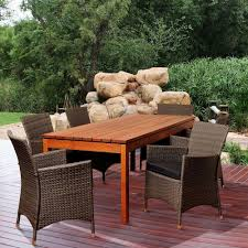 Eucalyptus Outdoor Table by Home Decorators Collection Bermuda 7 Piece All Weather Eucalyptus