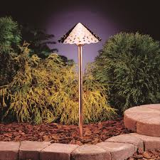 Kichler Outdoor Led Lighting by Led Hammered Roof Path Light With Broad Roof In Copper