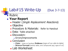 lab 24 write up due rubric your report lab worksheet ppt