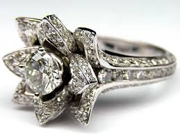 lotus flower engagement ring engagement ring lotus diamond engagement ring in 14k white gold