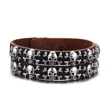 leather bracelet with skull charm images Women 39 s bracelets jpg