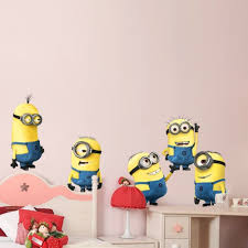 5 minions despicable me removable wall stickers decal home decor