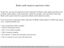 Credit Analyst Resume Sample by Bankcreditanalystexperienceletter 140901093626 Phpapp01 Thumbnail 4 Jpg Cb U003d1409564212