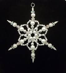snowflake ornament white pearl silver and clear ab christmas