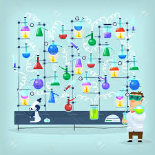 his and flasks poster with biochemistry chemist conducting chemical experiment