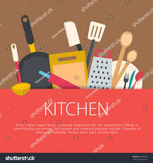 flat design kitchen concept kitchen equipment stock vector