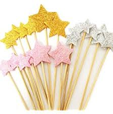Christmas Cake Decorations Amazon by Amazon Com Gold Star Cake Toppers Kids Birthday Party Baby Shower