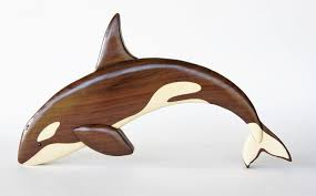 wooden animal wall orca killer whale intarsia wall hanging wooden animal carving