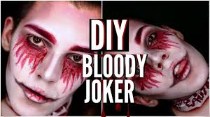 halloween makeup tutorial diy bloody joker last minute halloween