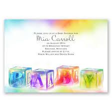 watercolor blocks baby shower invitation invitations by dawn