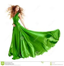woman fashion green gown long evening dress stock photography