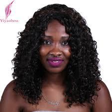 curled hairstyles medium length hair yiyaobess 40cm black brown font b hair b font highlights font b curly b font jpg