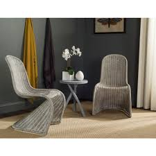 Wicker Rattan Dining Chairs Safavieh Tana Antique Grey Rattan Dining Chair Set Of 2 Sea8009b