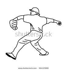 baseball pitcher cartoon drawing vector stock vector 246560947