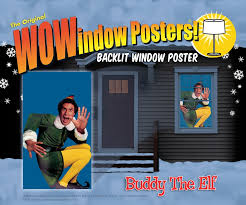 window posters buddy the window poster in christmas decorations