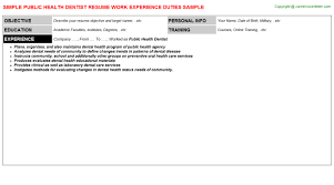 public health dentist resume sample