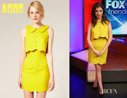 anna kendrick u0027s asos pique chelsea scalloped shift dress red