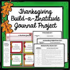 thanksgiving build a gratitude journal writing project verbs